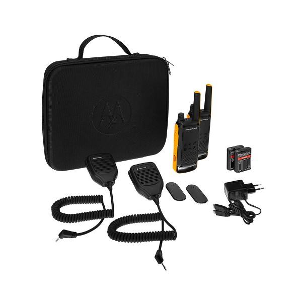 Motorola t82 extreme rsm negro amarillo pareja walkie talkies con altavoces